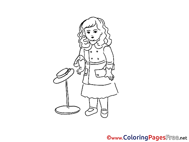 Hat printable Coloring Sheets Girl download