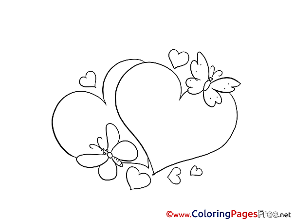 Hearts Colouring Sheet download free Butterflies