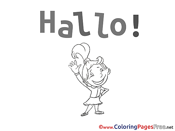 Hello Colouring Sheet download free Girl
