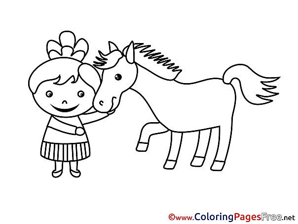 Horse Kids download Girl Coloring Pages