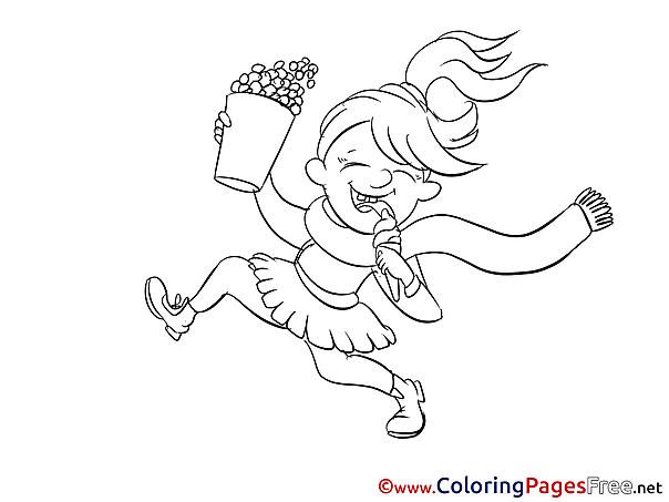 Popcorn free printable Girl Coloring Sheets