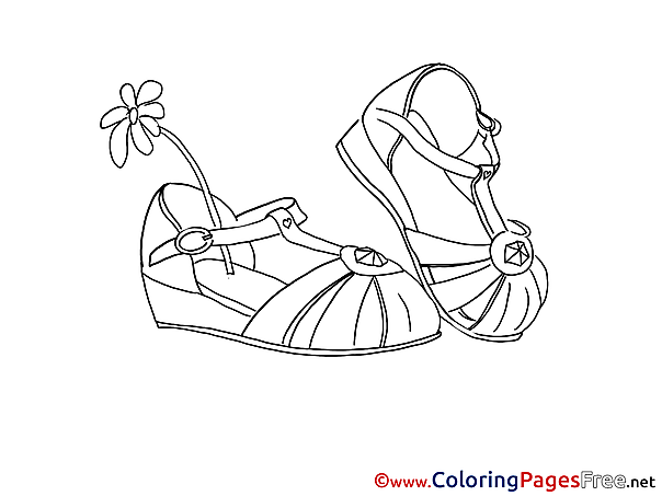 Shoes Woman Children Coloring Pages free