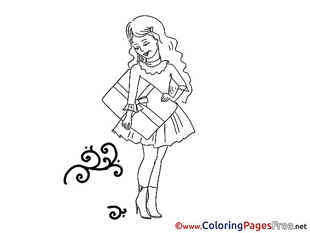 Shopping Girl download printable Coloring Pages