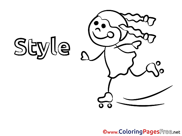 Skates Colouring Page Girl printable free