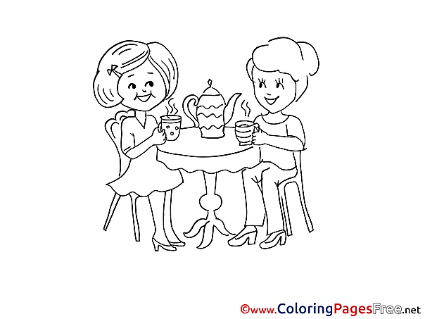 Tea Friends Colouring Sheet download free