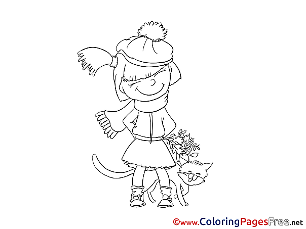 Winter Girl free Colouring Page download Cat