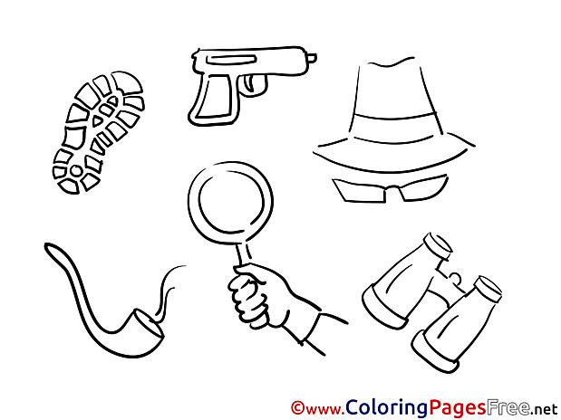Binoculars Hat Children Colouring Page