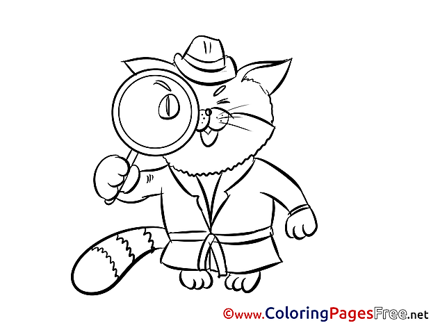 Cat Detective for free Coloring Pages download