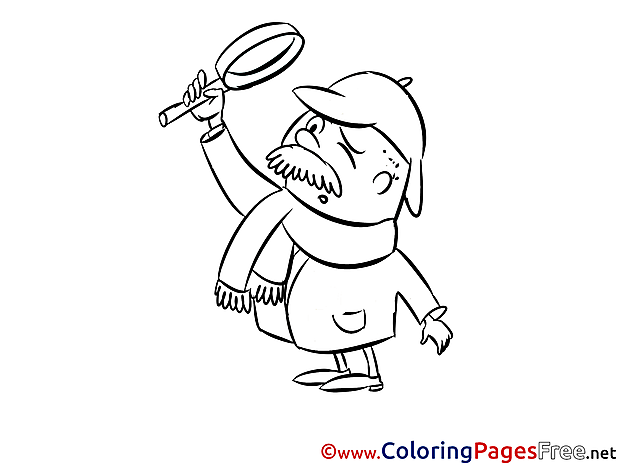 Detective free Colouring Page download