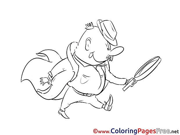 Detective with Loupe Colouring Page printable free