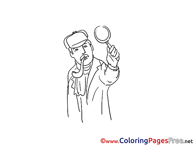 Detective with Loupe for free Coloring Pages download