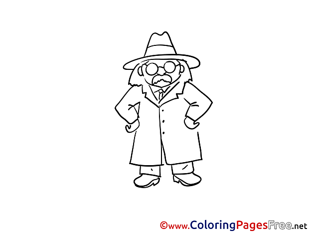 Glasses Detective for Kids printable Colouring Page