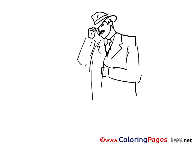 Hat Detective Coloring Sheets download free