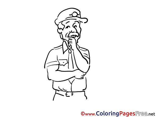 Kids free Detective Coloring Page