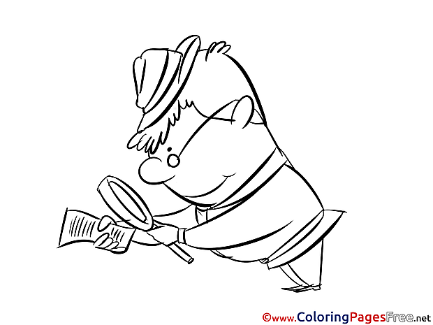 Man Looking for Clues Coloring Sheets download free