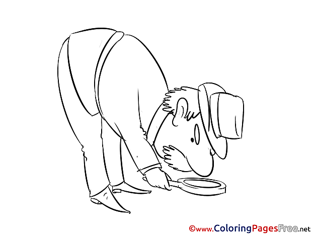 Old Man Looking for Clues Coloring Pages
