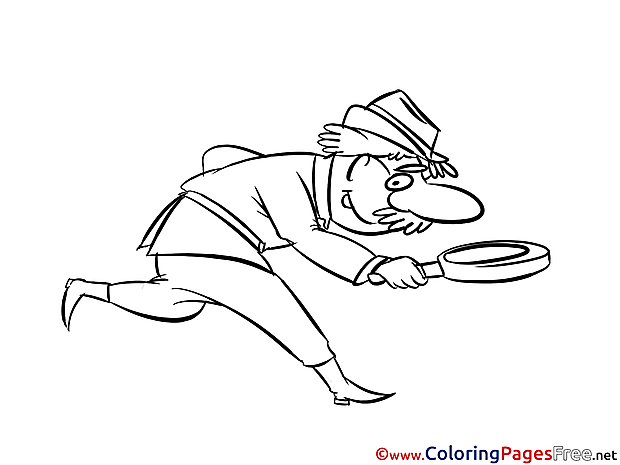 Old Man Looking for Clues for Kids Colouring Page