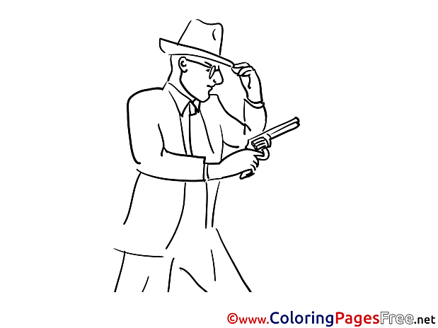 Pistol download printable Coloring Pages