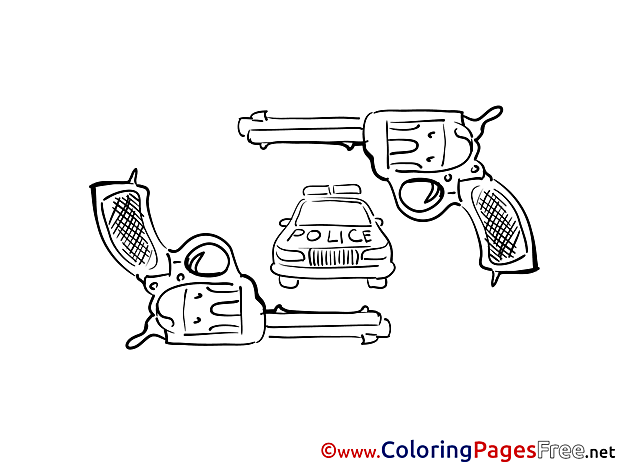 Pistols printable Coloring Sheets download