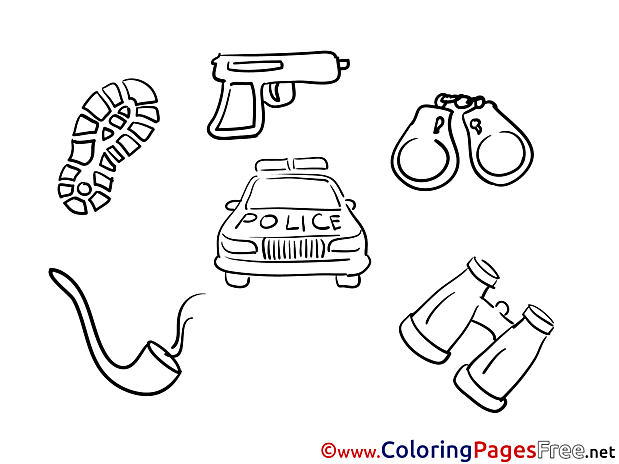 Police car Children download Colouring Page