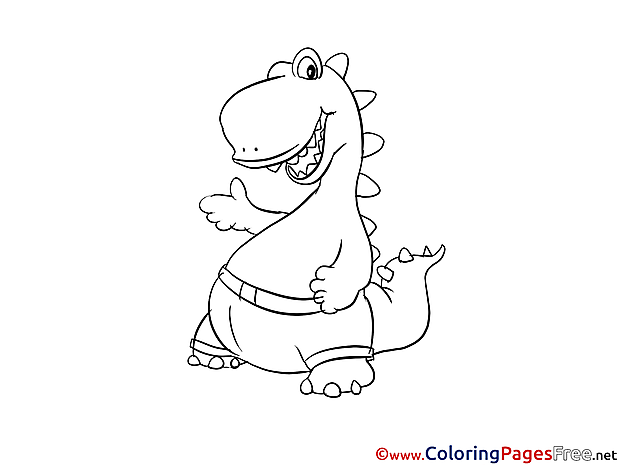 Pants Dinosaur printable Coloring Pages for free
