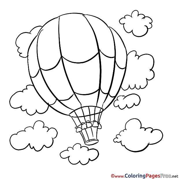 Balloon in the Sky printable Coloring Pages for free