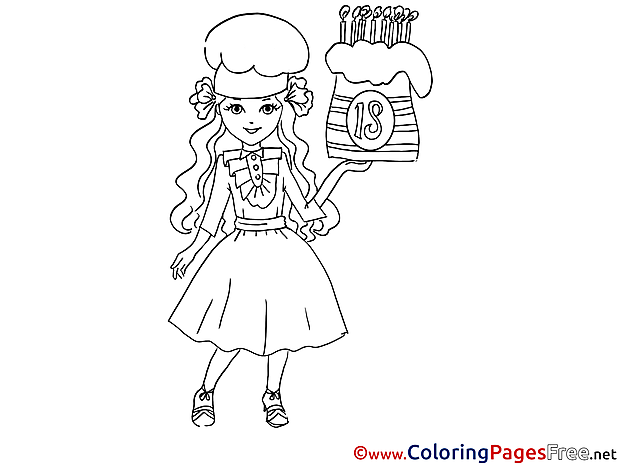 Birthday Girl Cake download printable Coloring Pages