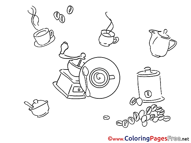 Coffee Colouring Page printable free
