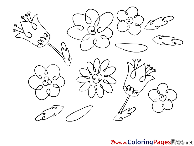Colouring Page Flowers printable free