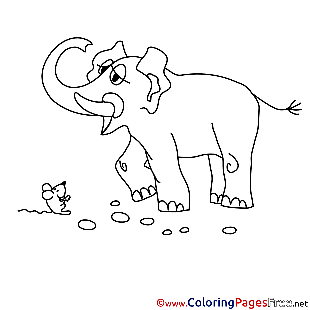 Elephant free Colouring Page download