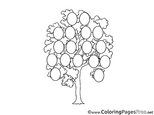 Family Tree download Colouring Sheet free