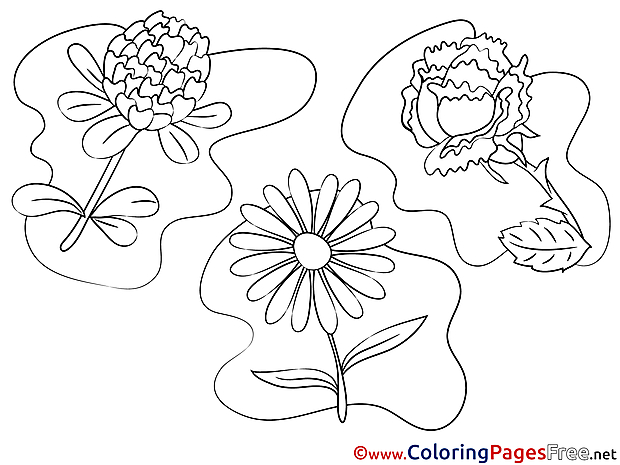 Flowers for free Coloring Pages download