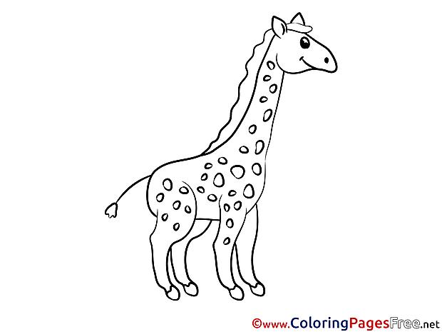 Giraffe Kids free Coloring Page