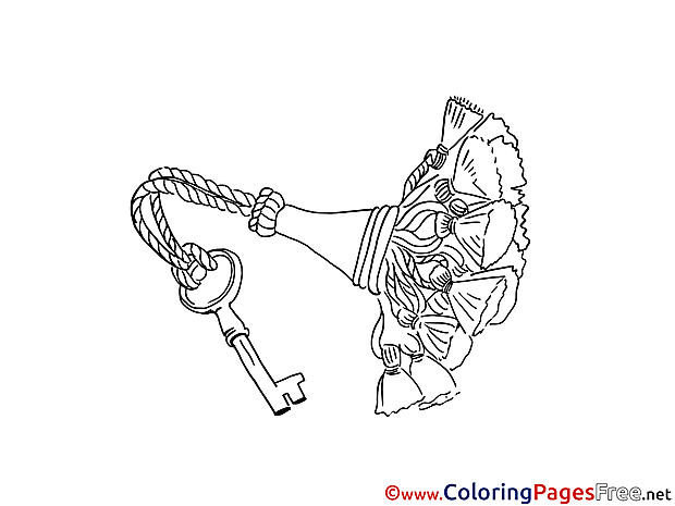 Key with Flowers for Children free Coloring Pages