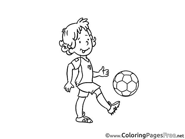 Kid plays Football Colouring Sheet download free
