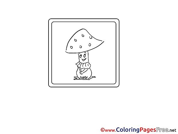 Mushroom for Kids printable Colouring Page