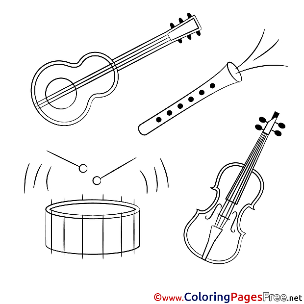 Music Instruments Kids download Coloring Pages