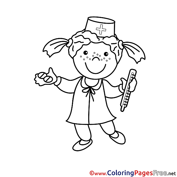 Nurse with Thermometer for Children free Coloring Pages