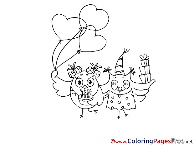 Owls celebrates Party printable Coloring Pages for free