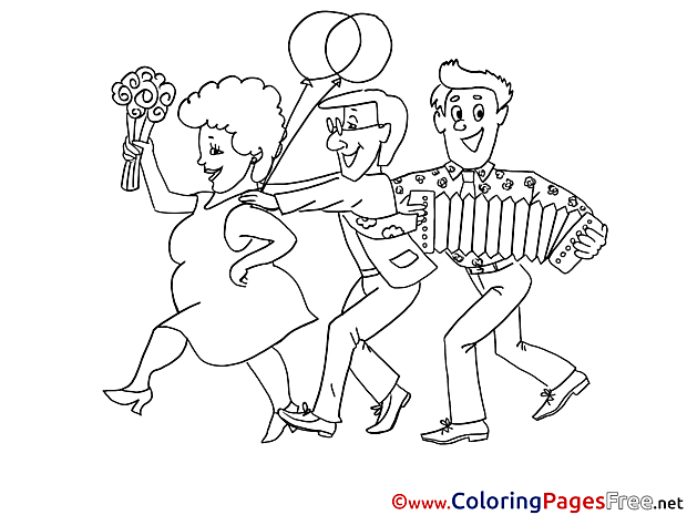 People Party Colouring Sheet download free