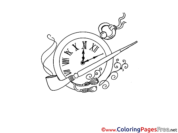 Pipe Clock free Colouring Page download