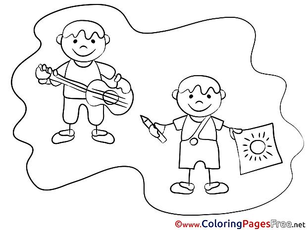 School Kids Children download Colouring Page