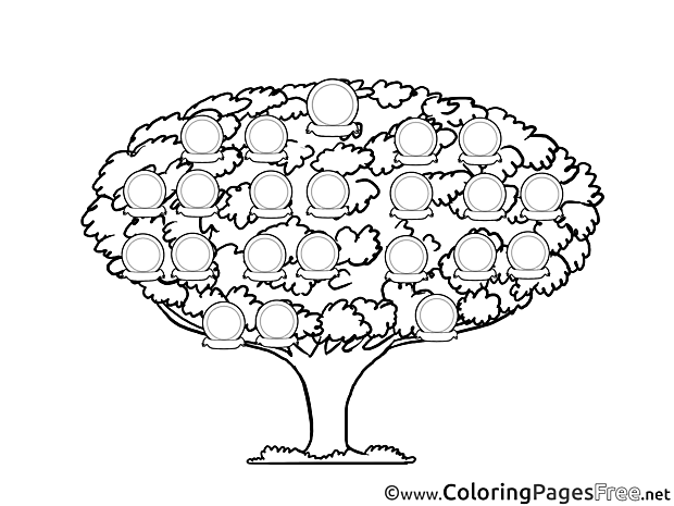 Tree Family Kids free Coloring Page