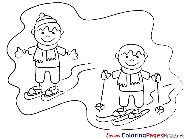 Winter Sport download Colouring Sheet free