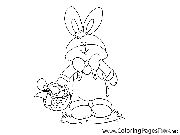 Bunny Kids Easter Coloring Pages