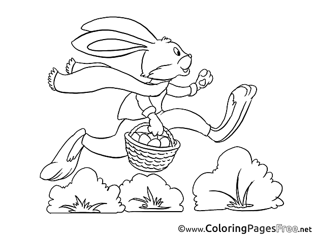 Bunny runs with Basket Coloring Sheets Easter free