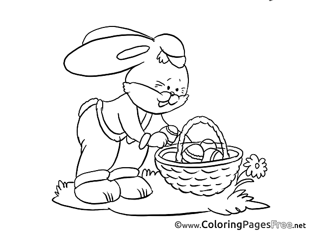 Bunny takes Egg Colouring Sheet download Easter