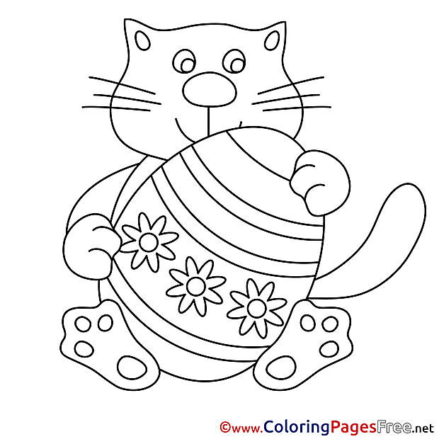 Cat with Egg Coloring Sheets Easter free