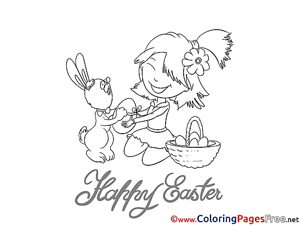 Celebration Children Easter Colouring Page