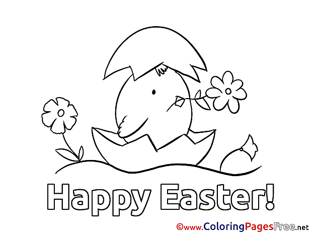 Chicken in Egg Easter Coloring Pages free